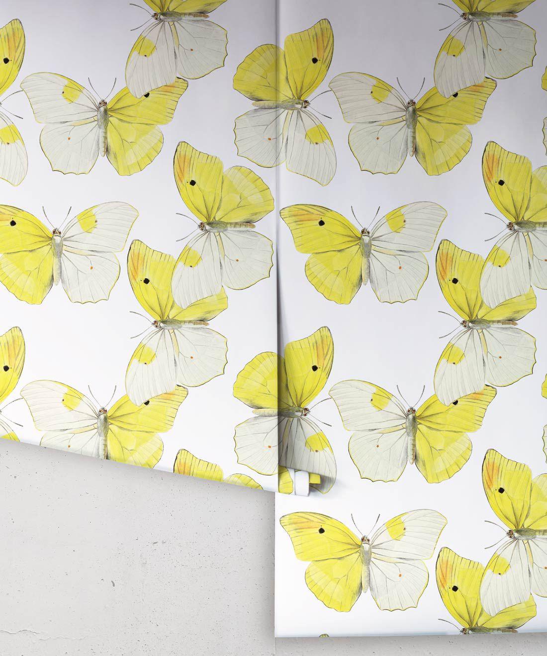 Blended Butterfly Wallpaper • White & Yellow Butterflies Wallpaper •Rolls