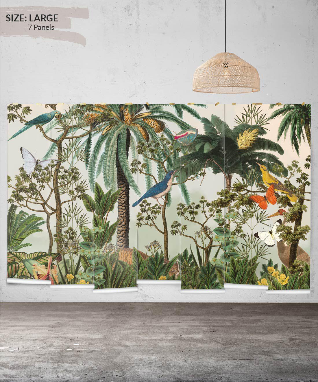 Heritage Jungle Mural • Tropical Jungle Animal Wallpaper • Large Insitu