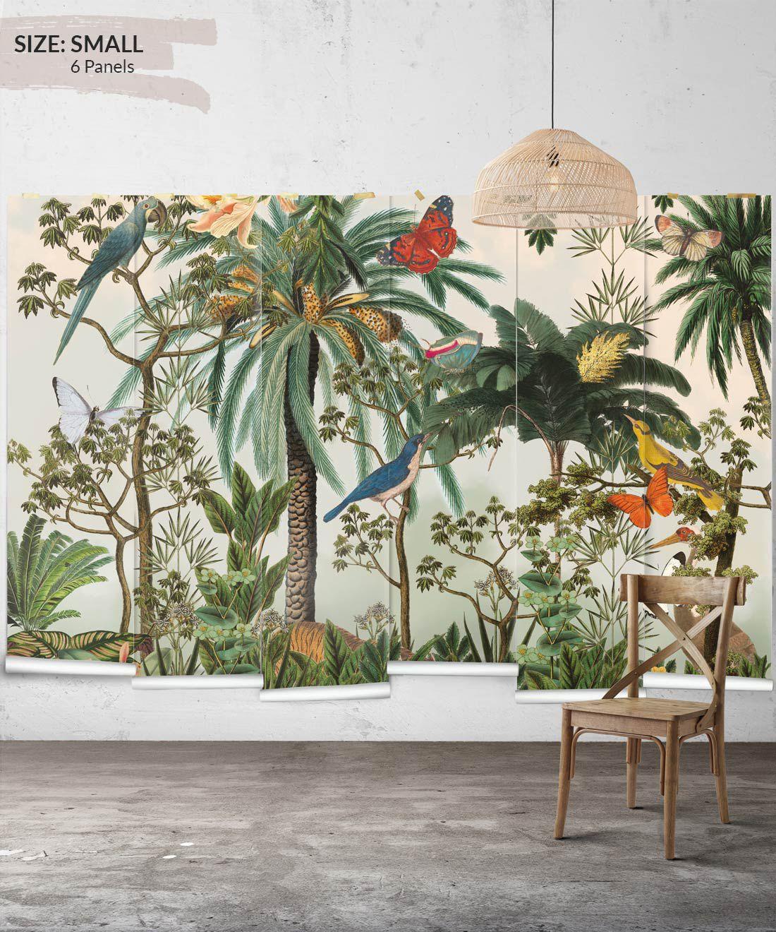 Heritage Jungle Mural • Tropical Jungle Animal Wallpaper • Small Insitu