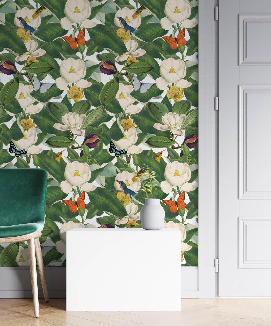 Magnolia Bloom Wallpaper • Floral White Magnolias •Insitu
