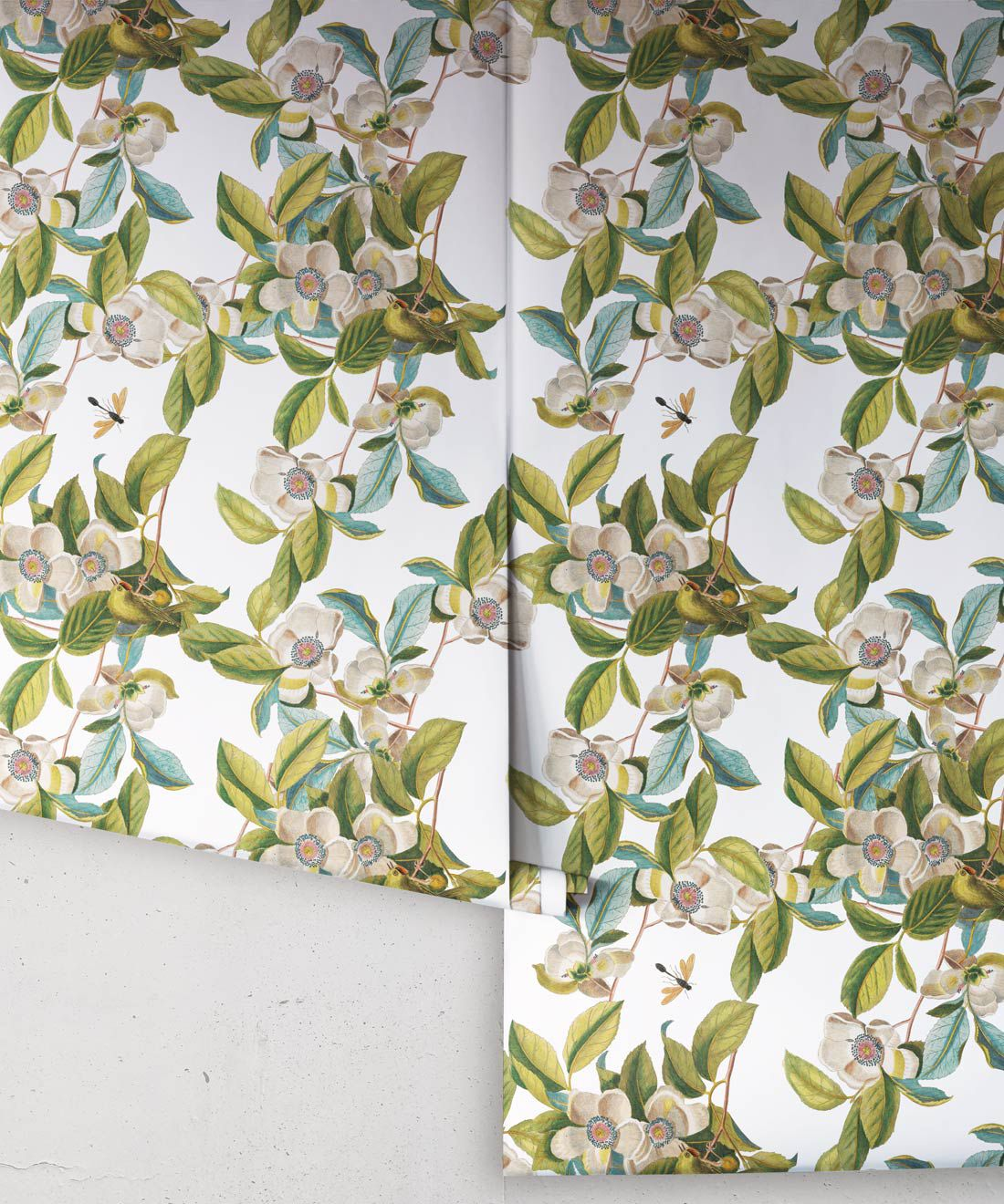Midsummer Garden Wallpaper • White Floral Wallpaper •Rolls