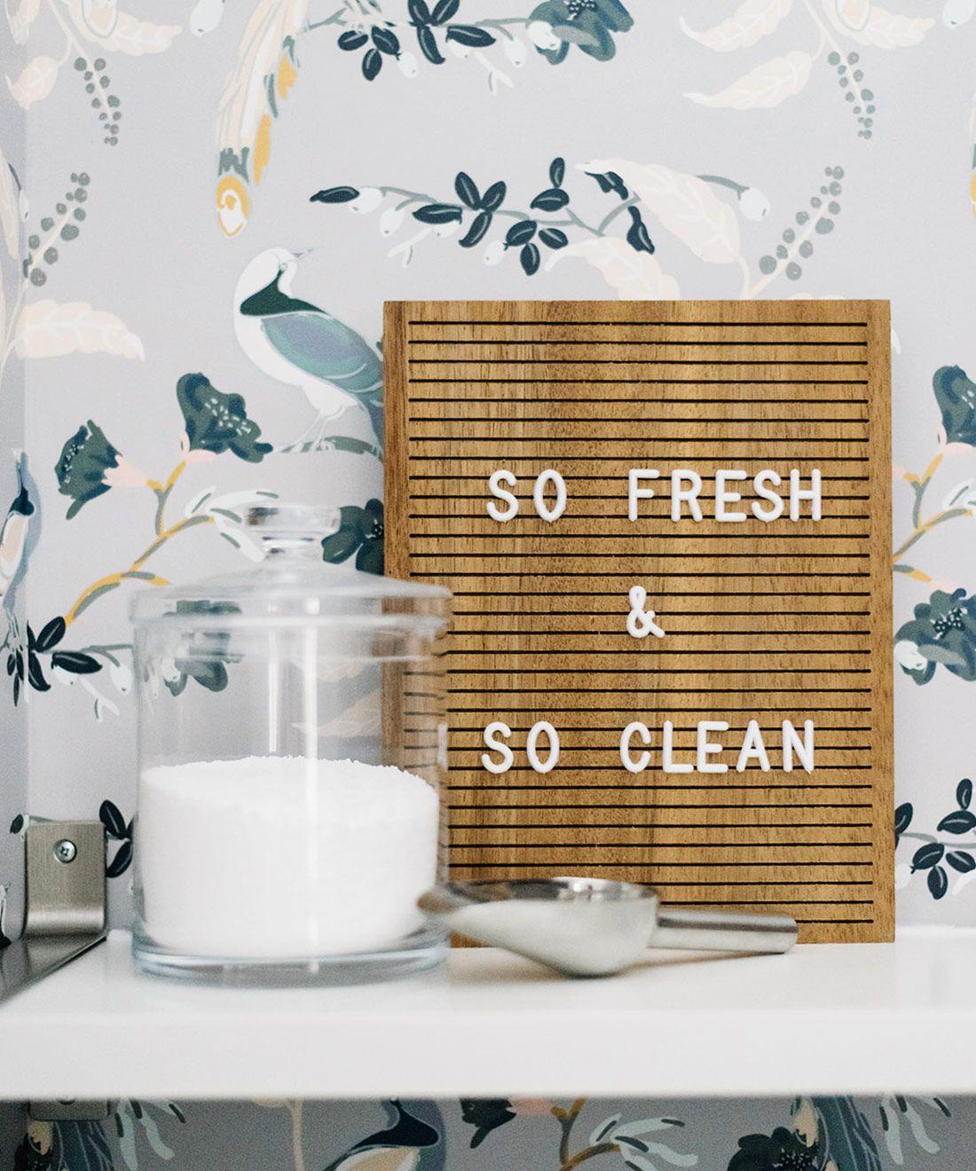 Birds of Paradise • Laundry Room Wallpaper • Blue Grey Wallpaper • So Fresh & So Clean Sign