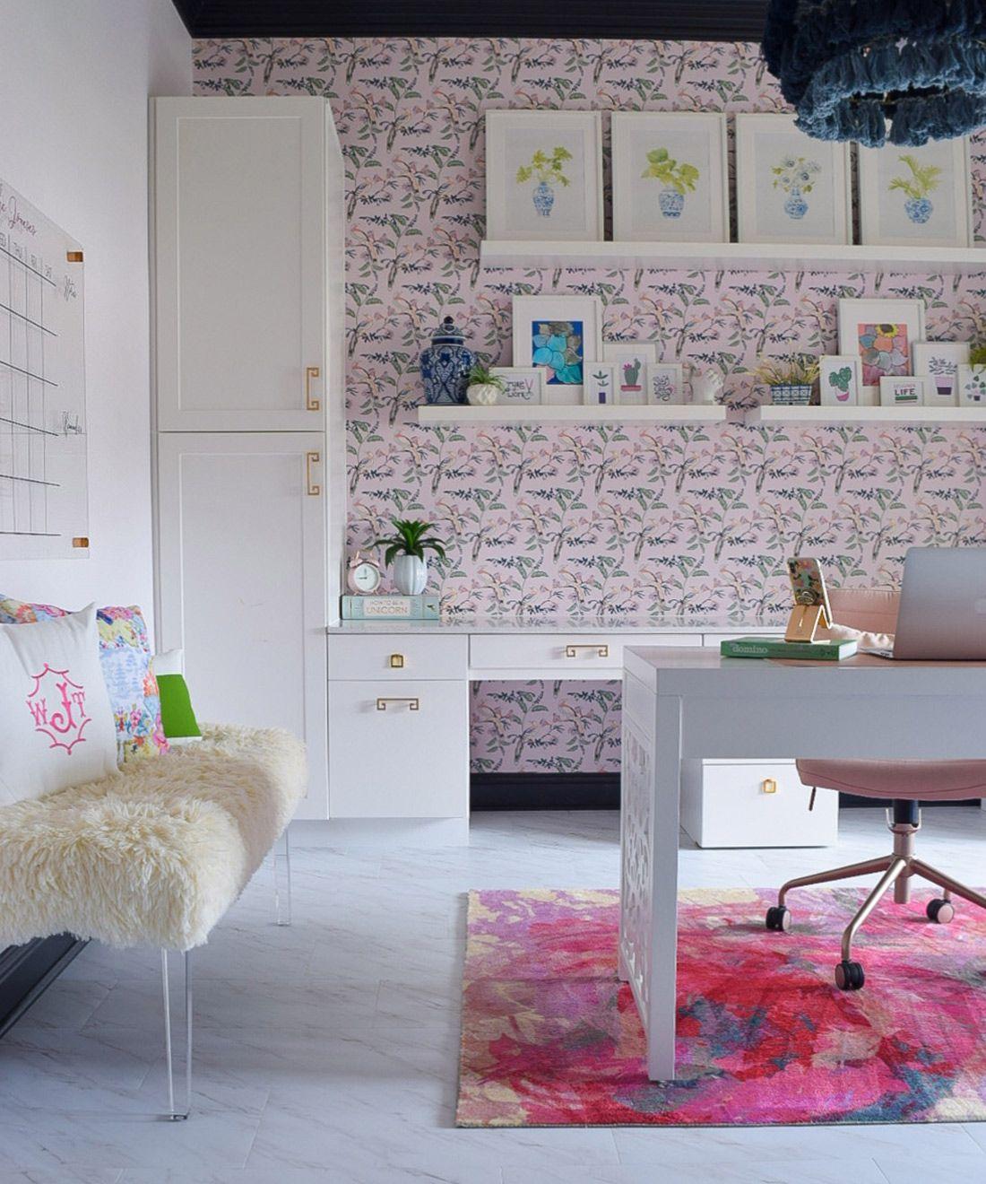 Birds of Paradise • Home Office Wallpaper •We're The Joneses •One Room Challenge • Pink Wallpaper