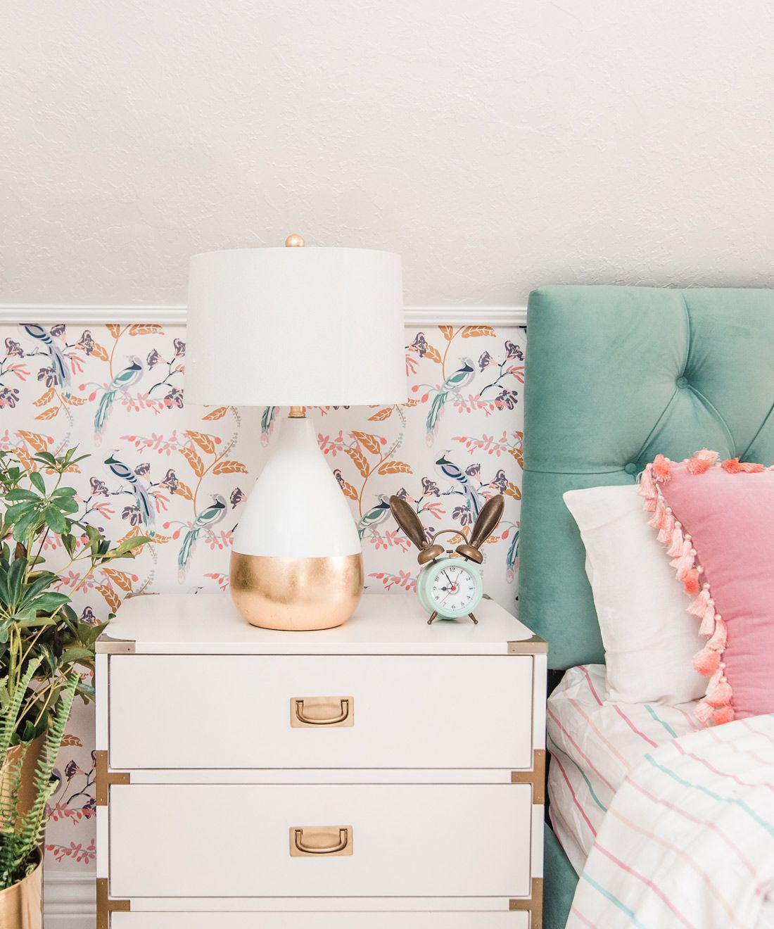 Birds of Paradise • Bedroom Wallpaper •At Home With Ashley Wilson •One Room Challenge