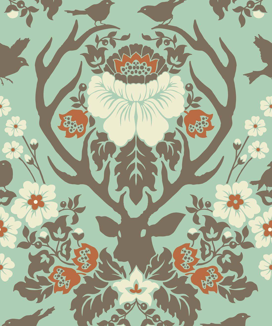 Antler Damask Wallpaper