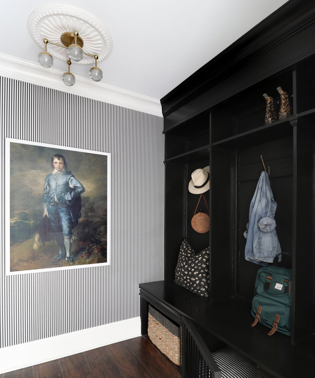 Candy Stripe Wallpaper • Striped Wallpaper •Black & White Stripe Wallpaper • Kristin Jackson • @huntedinterior