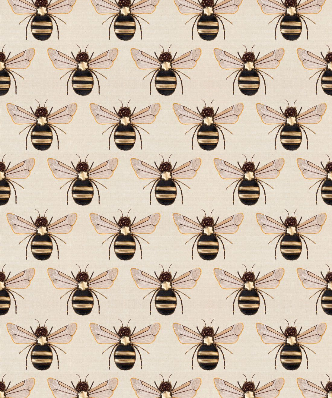 Golden Bee Embroider Wallpaper