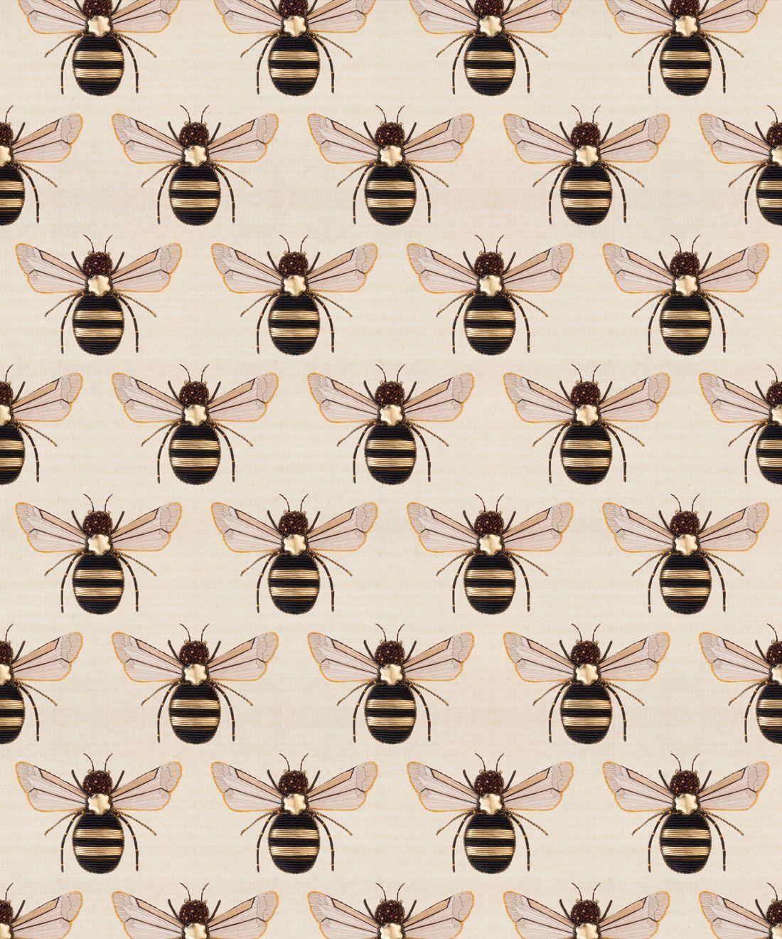 Golden Bee Embroidery Wallpaper
