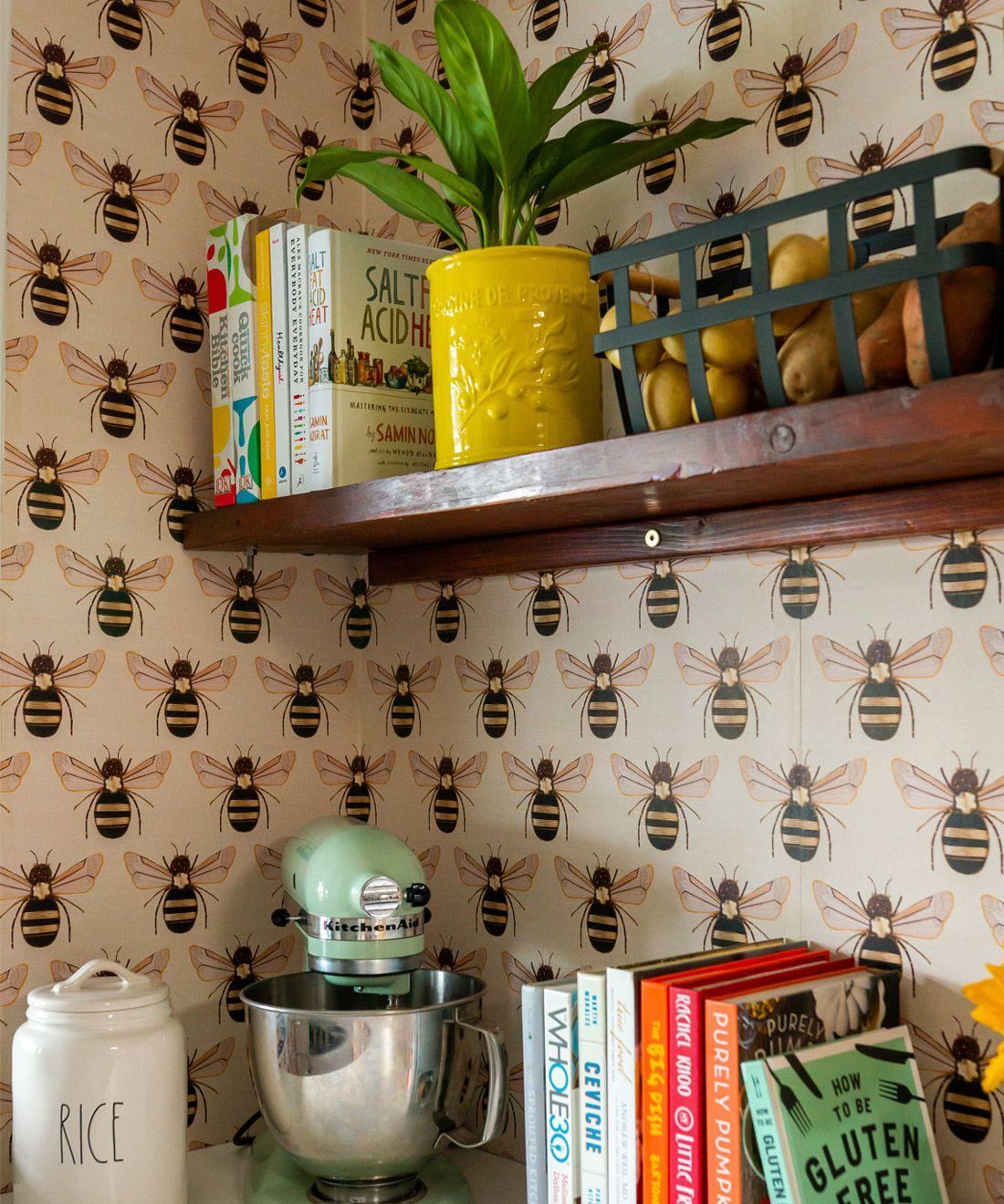 Golden Bee Embroidery Wallpaper • Casa De Fallon • Pantry wallpaper • Laundry Room wallpaper