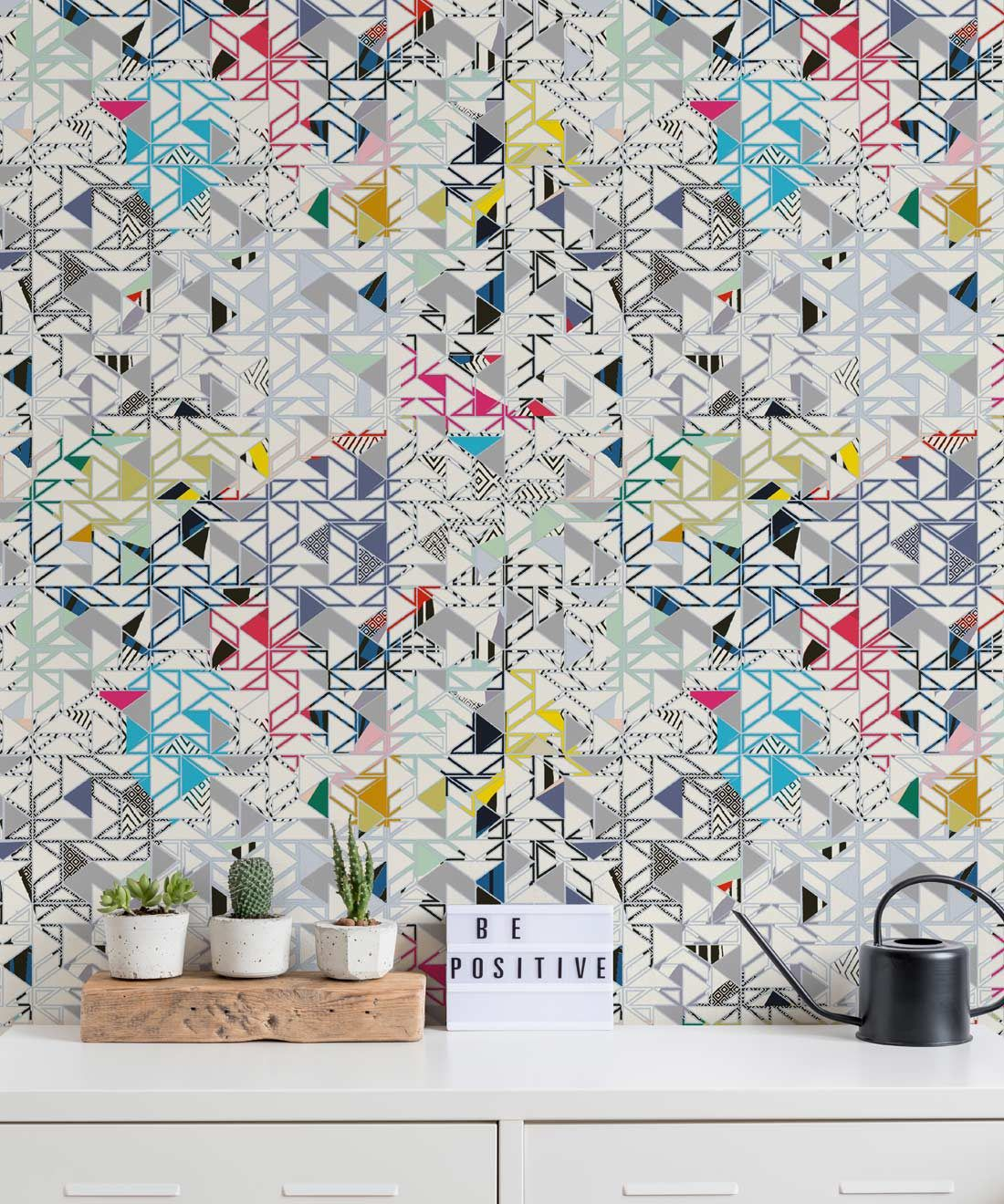 Bauhaus Wallpaper, Colourful Geometric Wallpaper by Kitty McCall, Milton & King, Europe