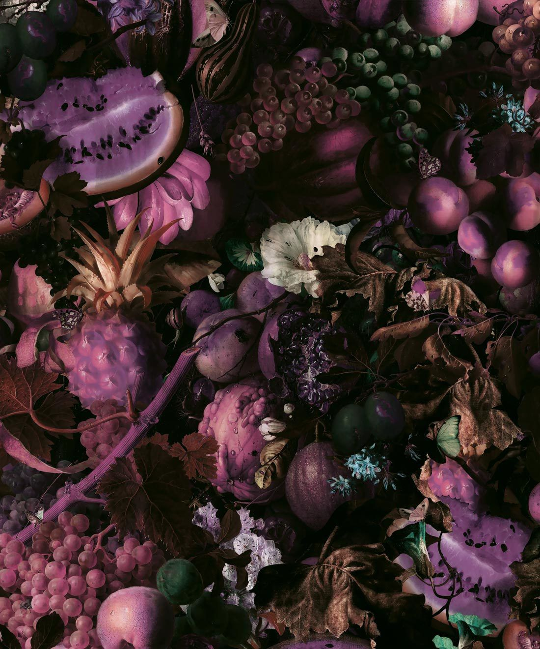 Fruitta Violet Wallpaper • Kitchen Wallpaper • Floral Wallpaper • Milton & King