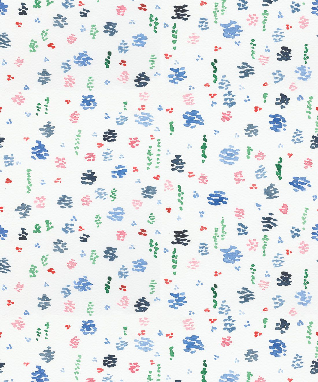 Spring Garden • Blue Floral Wallpaper •
