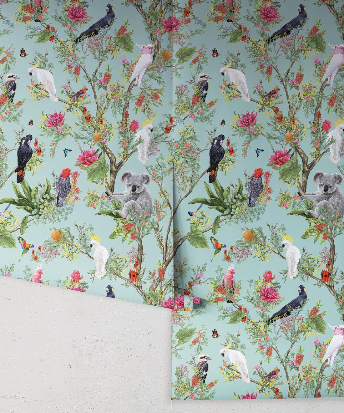 Australia Wallpaper • Cockatoos, Koalas, Parrots, Finches • Milton & King USA • Mint Green Wallpaper Roll