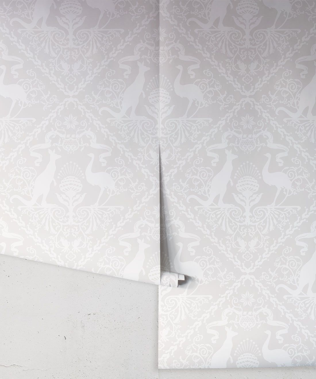 In Australia We Trust Bondi • Australian Wallpaper • Australian Coat of Arms • Milton & King USA • Grey Wallpaper Rolls