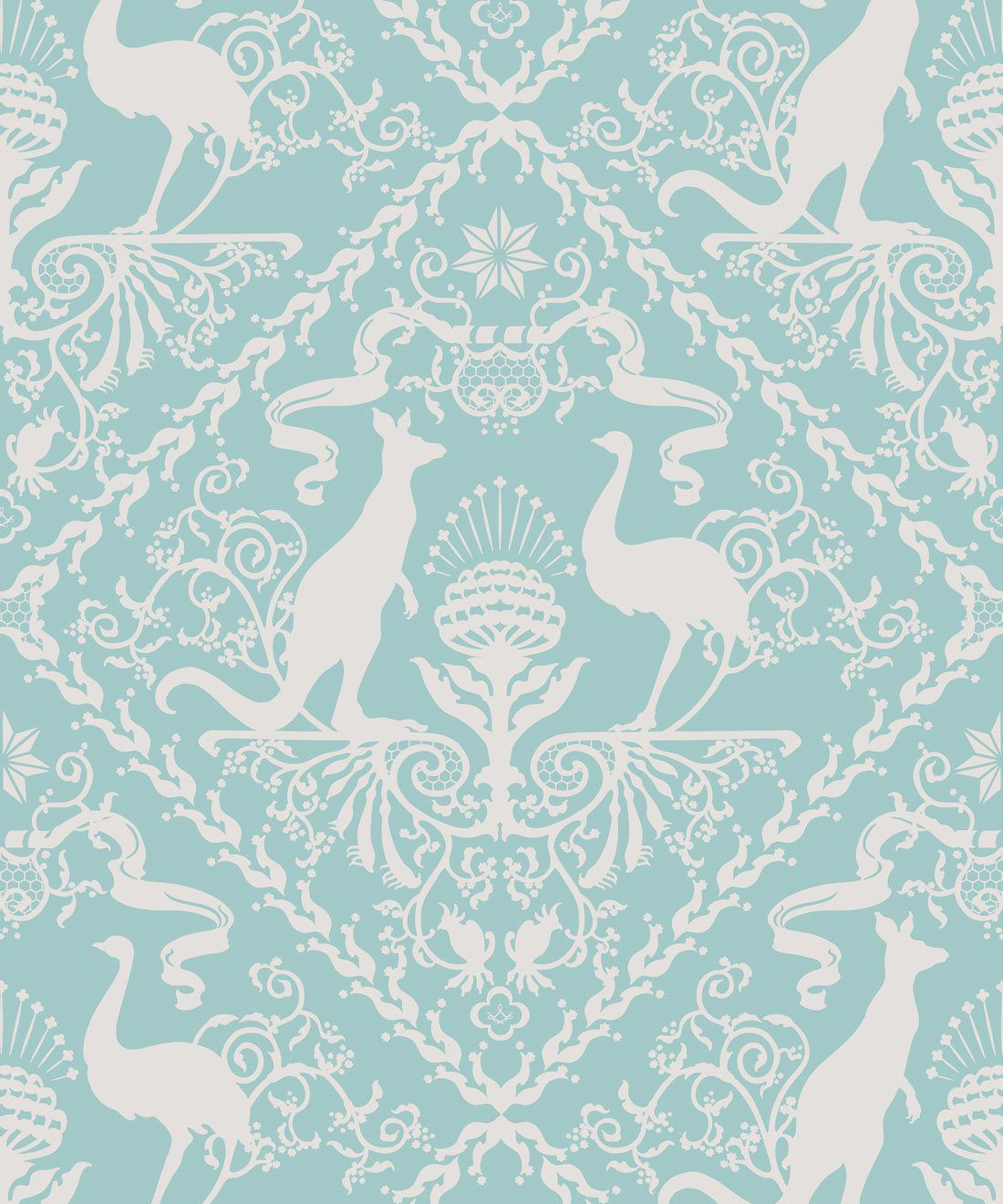In Australia We Trust Cockatoo• Australian Wallpaper • Australian Coat of Arms • Milton & King Europe • Aqua Wallpaper Swatch