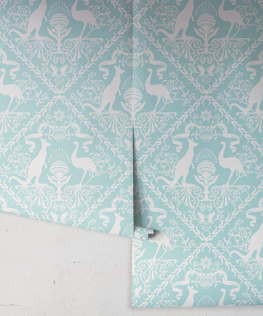 In Australia We Trust Cockatoo• Australian Wallpaper • Australian Coat of Arms • Milton & King USA • Aqua Wallpaper Rolls