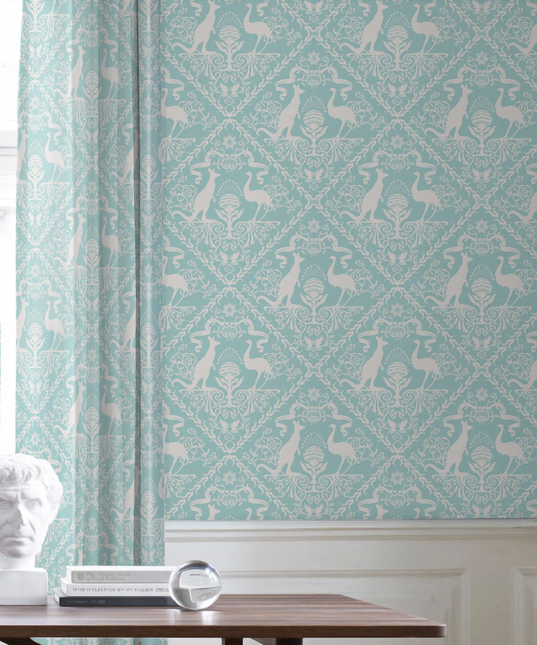 In Australia We Trust Cockatoo• Australian Wallpaper • Australian Coat of Arms • Milton & King USA • Aqua Wallpaper Insitu