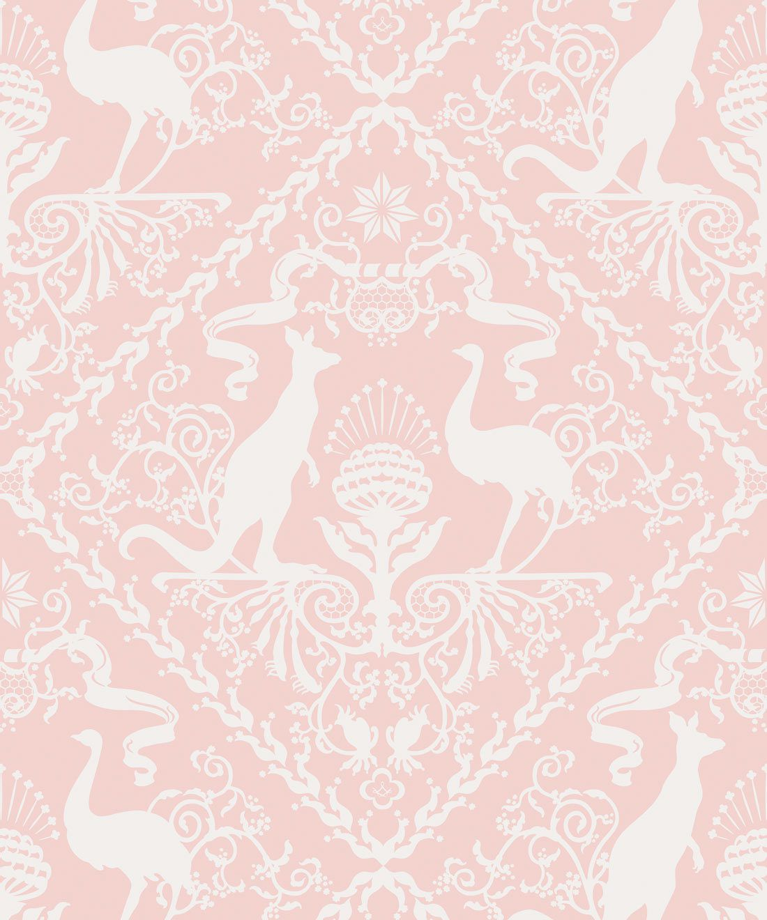 In Australia We Trust Coral • Australian Wallpaper • Australian Coat of Arms • Milton & King Europe • Pink Wallpaper Swatch