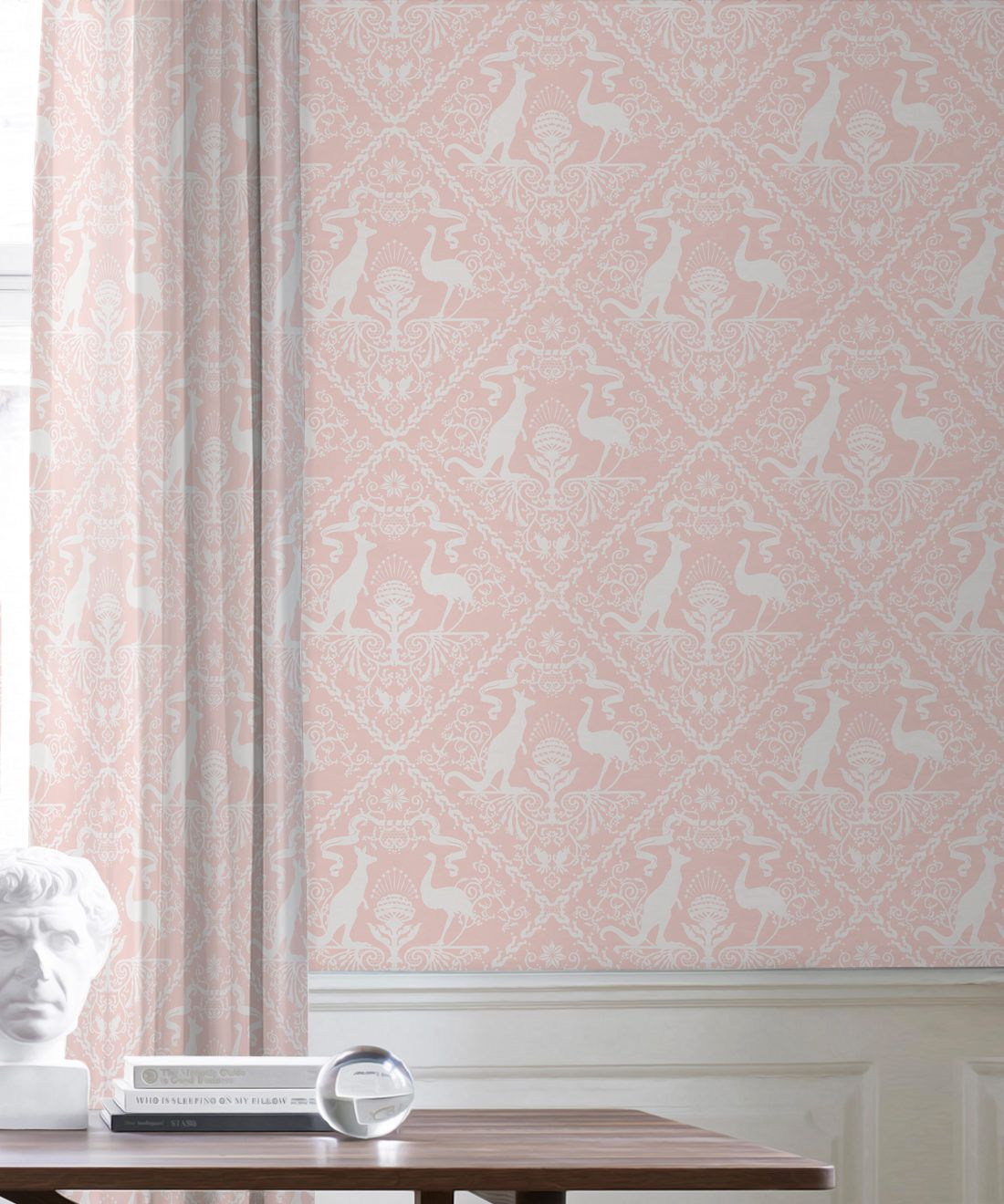 In Australia We Trust Coral • Australian Wallpaper • Australian Coat of Arms • Milton & King USA • Pink Wallpaper