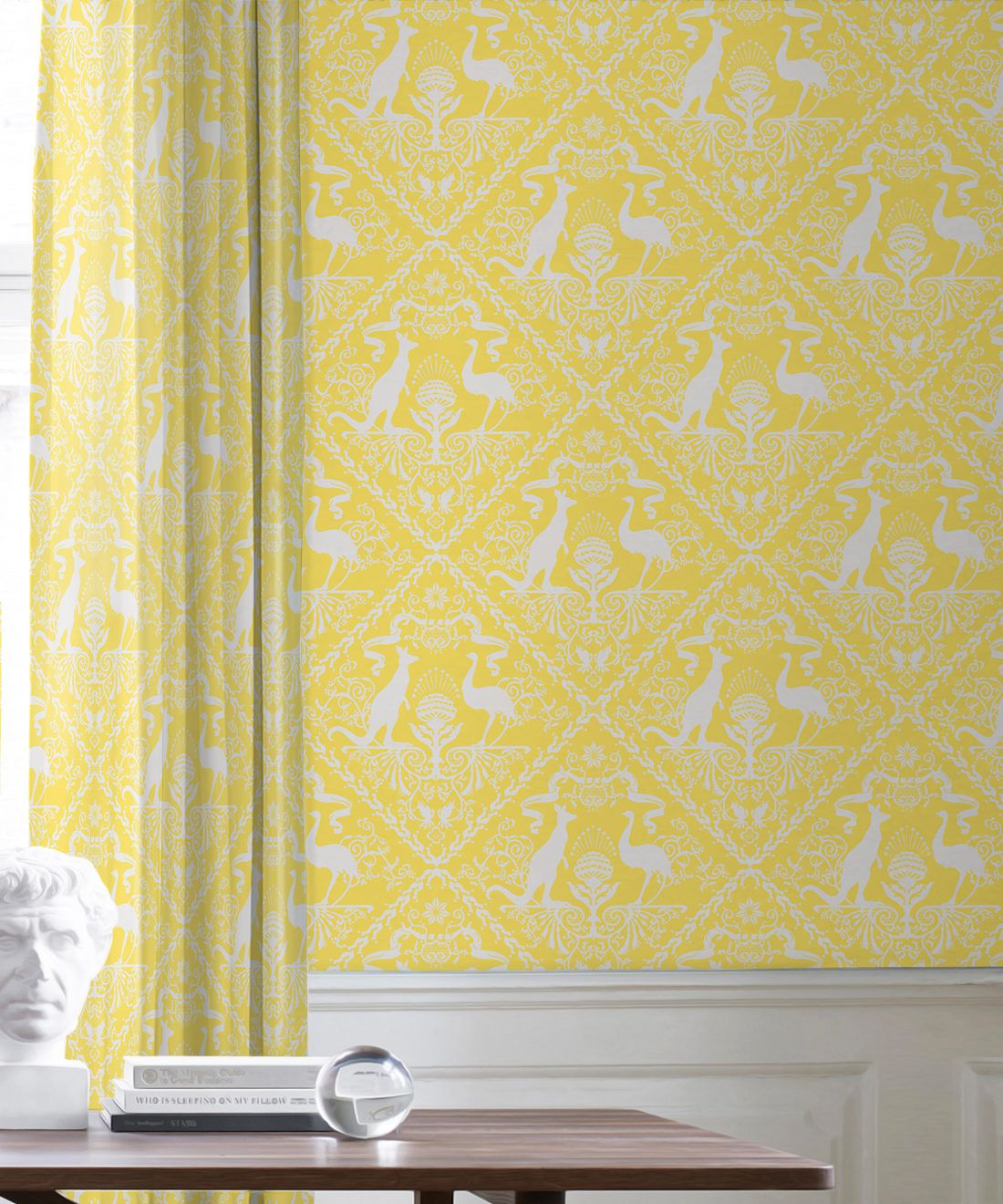 In Australia We Trust Sunshine • Australian Wallpaper • Australian Coat of Arms • Milton & King USA • Yellow Wallpaper