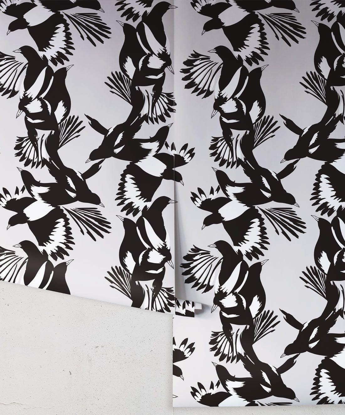 Magpie Wallpaper • Milton & King • Kingdom Home • Bird Wallpaper • Black & White Roll