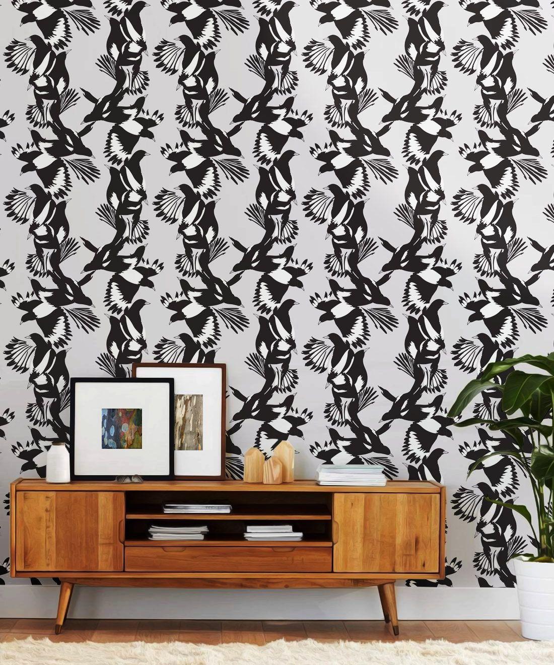 Magpie Wallpaper • Milton & King • Kingdom Home • Bird Wallpaper • Black & White Insitu