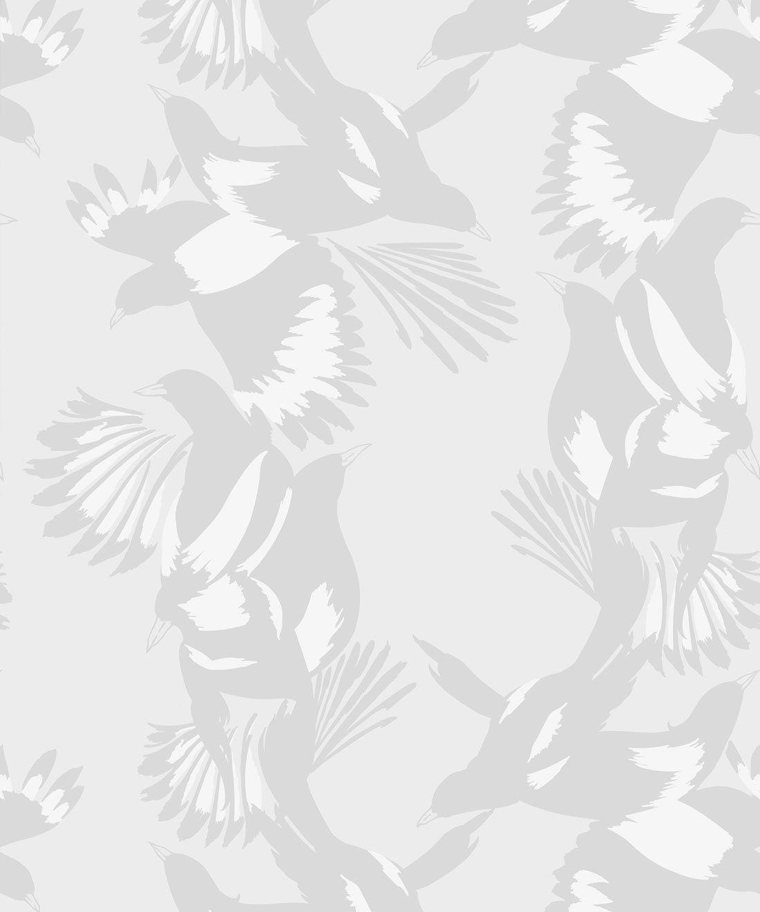 Magpie Wallpaper • Milton & King • Kingdom Home • Bird Wallpaper • Bondi Grey Swatch