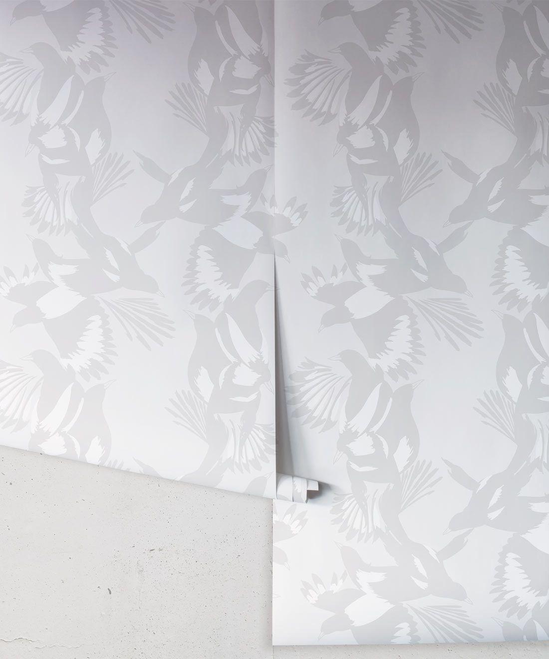 Magpie Wallpaper • Milton & King • Kingdom Home • Bird Wallpaper • Bondi Grey Roll
