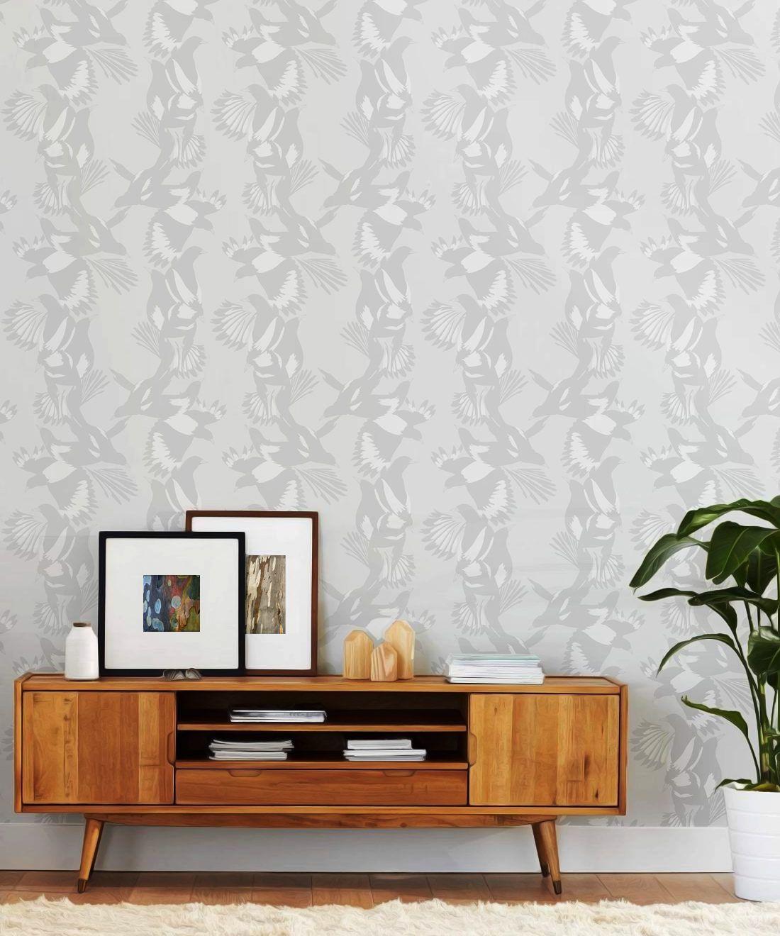 Magpie Wallpaper • Milton & King • Kingdom Home • Bird Wallpaper • Bondi Grey Insitu