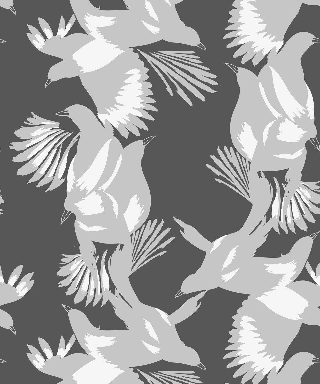 Magpie Wallpaper • Milton & King • Kingdom Home • Bird Wallpaper • Slate Swatch