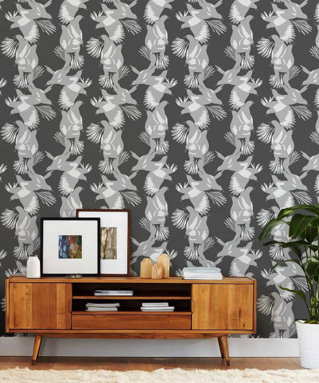 Magpie Wallpaper • Milton & King • Kingdom Home • Bird Wallpaper • Slate Insitu