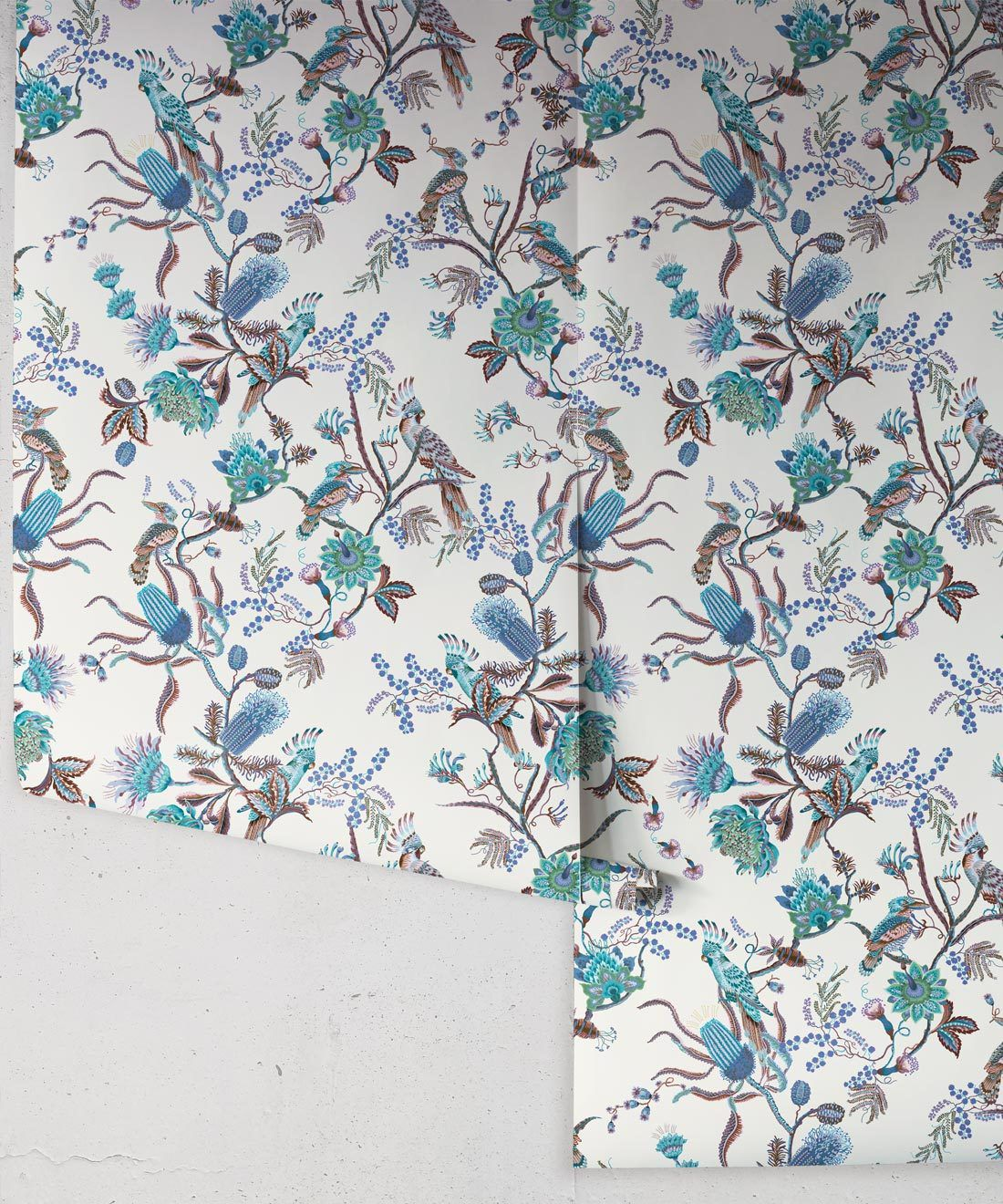 Matilda Wallpaper • Cockatoo, kookaburra • Australian Wallpaper • Milton & King USA • Blue Bell Roll
