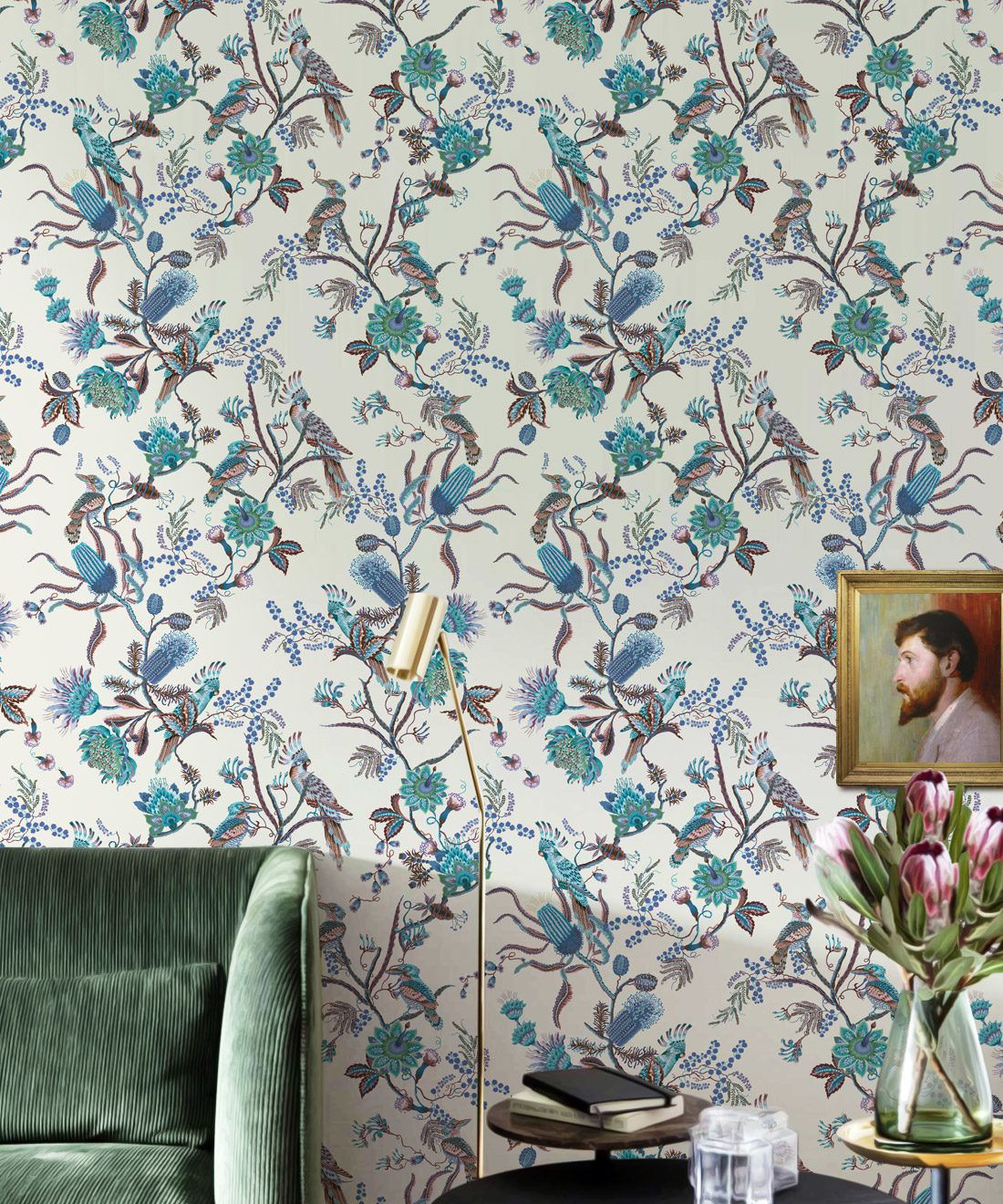 Matilda Wallpaper • Cockatoo, kookaburra • Australian Wallpaper • Milton & King USA • Blue Bell Insitu