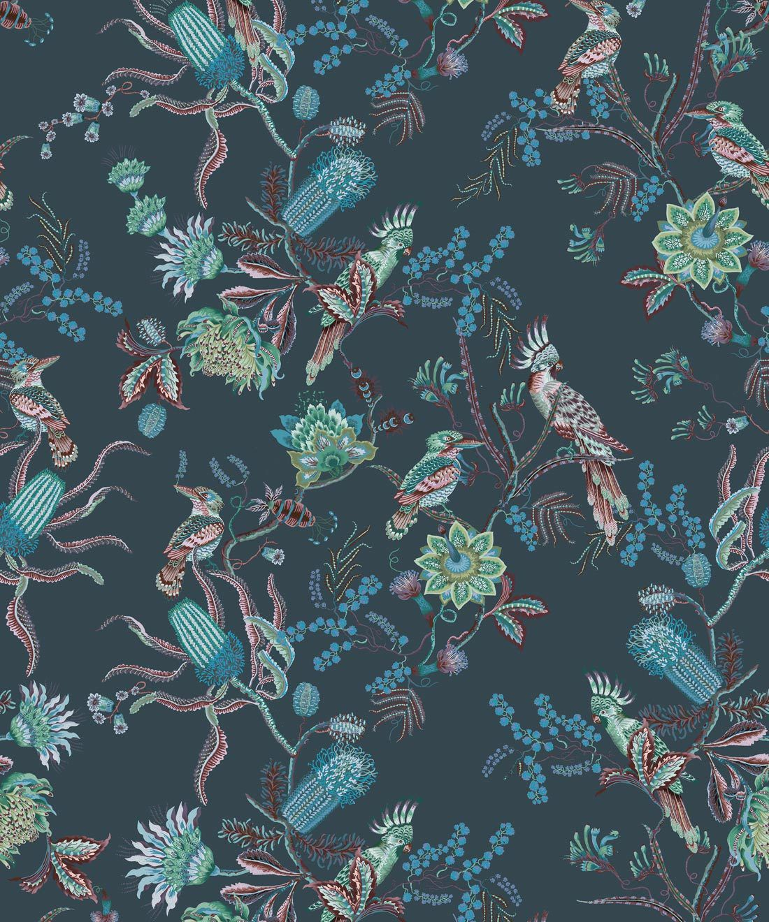 Matilda Wallpaper • Cockatoo, kookaburra • Australian Wallpaper • Milton & King Europe • Deep Blue Swatch