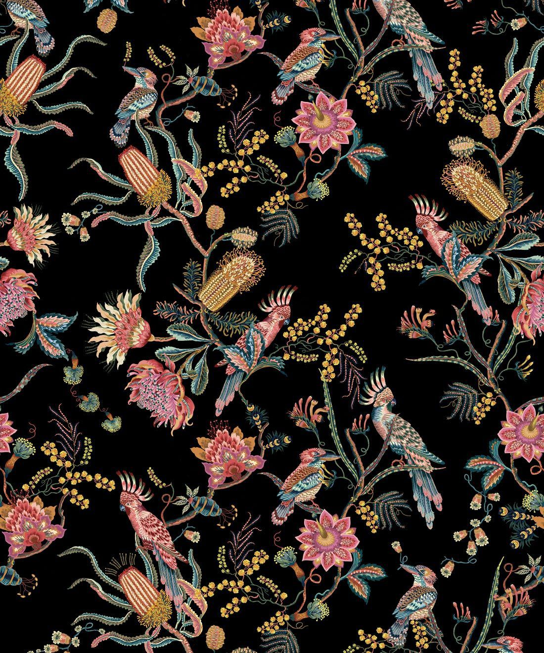 Matilda Wallpaper • Cockatoo, kookaburra • Australian Wallpaper • Milton & King USA • Night Swatch