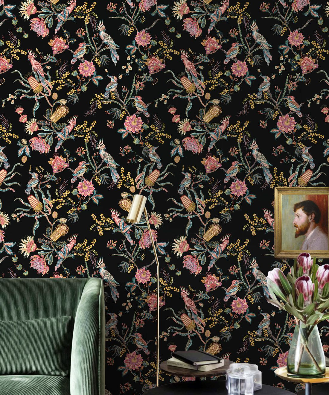 Matilda Wallpaper • Cockatoo, kookaburra • Australian Wallpaper • Milton & King USA • Night Insitu