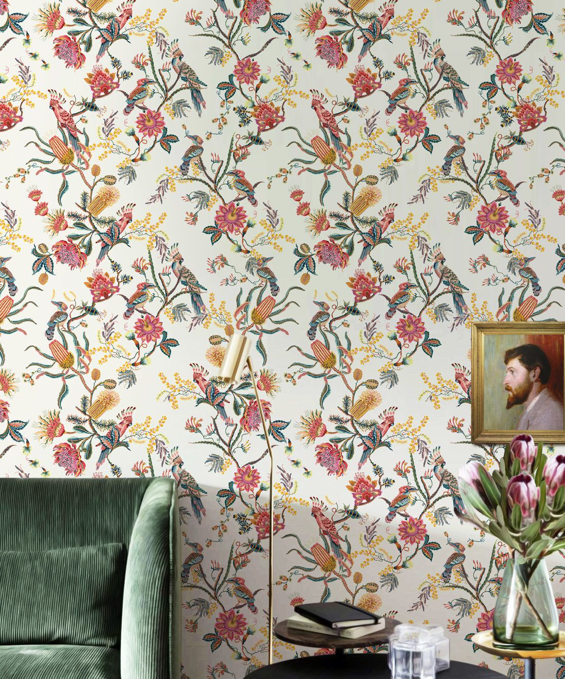 Matilda Wallpaper • Cockatoo, kookaburra • Australian Wallpaper • Milton & King USA • Oceania Roll