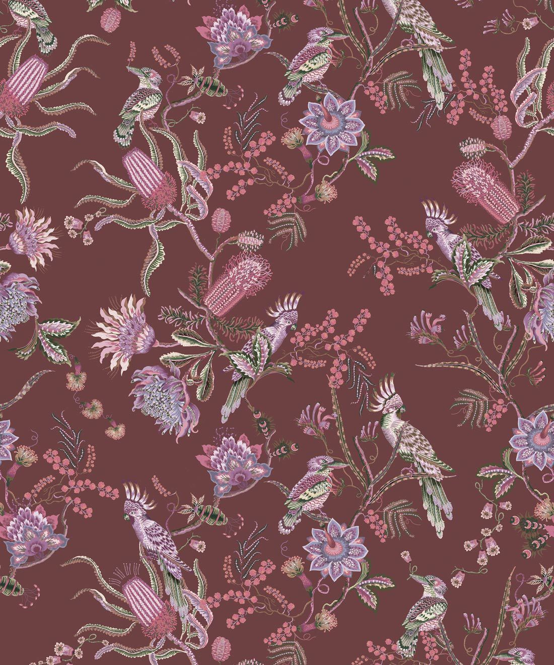 Matilda Wallpaper • Cockatoo, kookaburra • Australian Wallpaper • Milton & King USA • Plum Swatch