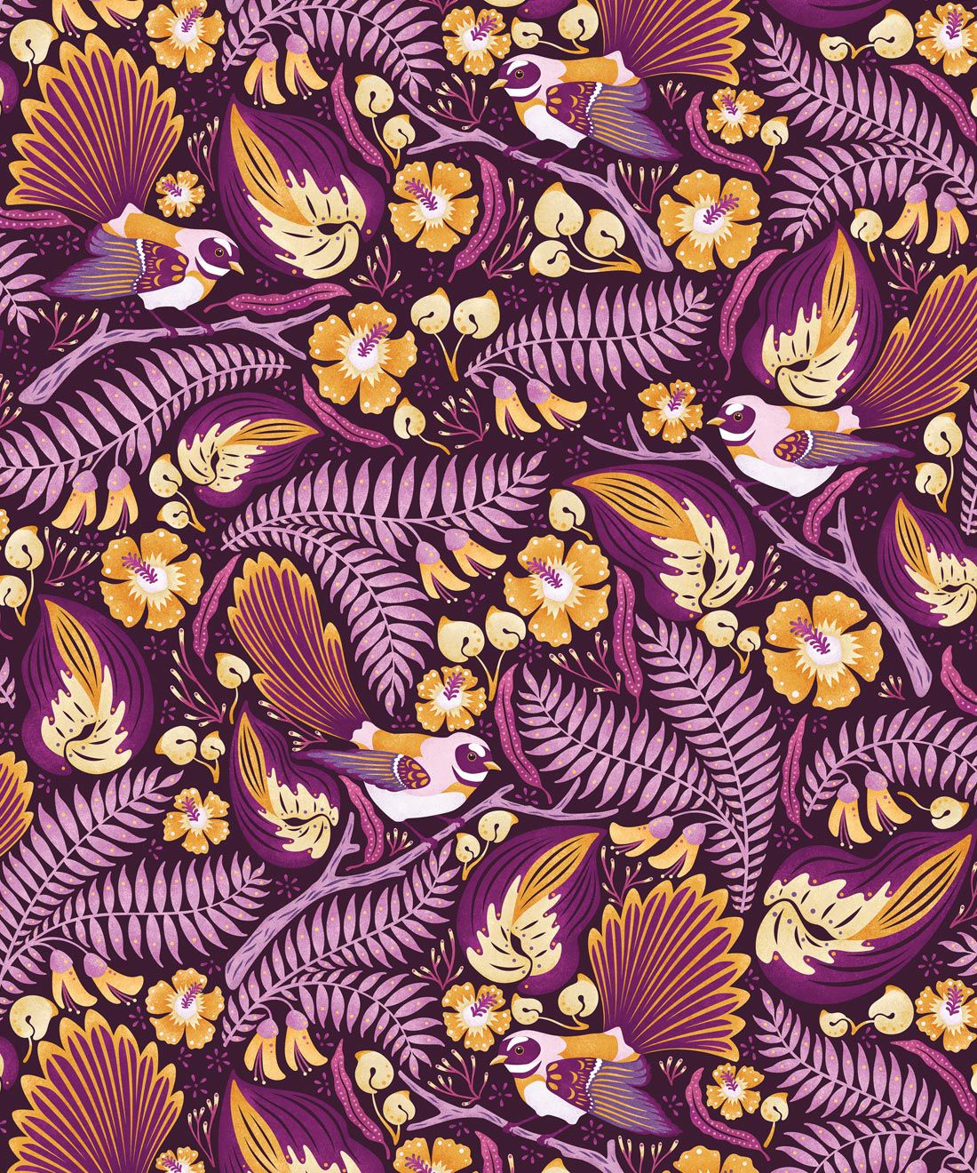 Faintails Wallpaper • New Zealand • Bird Wallpaper • Kowhai Tree • Kowhai Flowers • Purple Wallpaper •Swatch