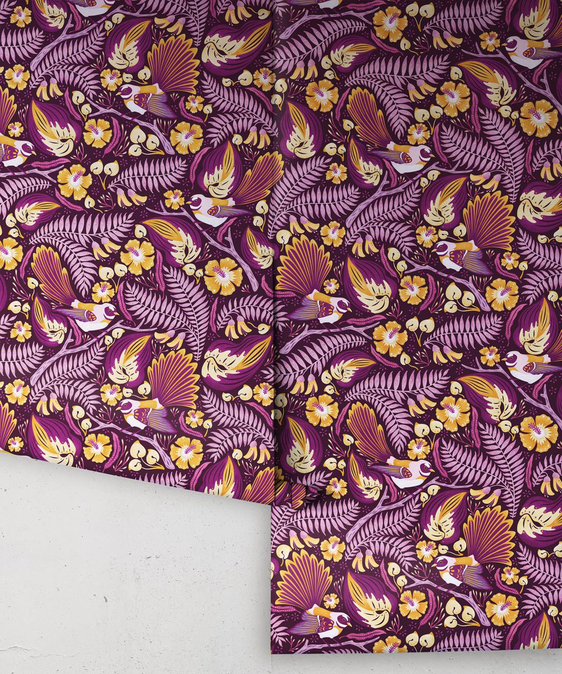 Faintails Wallpaper • New Zealand • Bird Wallpaper • Kowhai Tree • Kowhai Flowers • Purple Wallpaper • Wallpaper Rolls