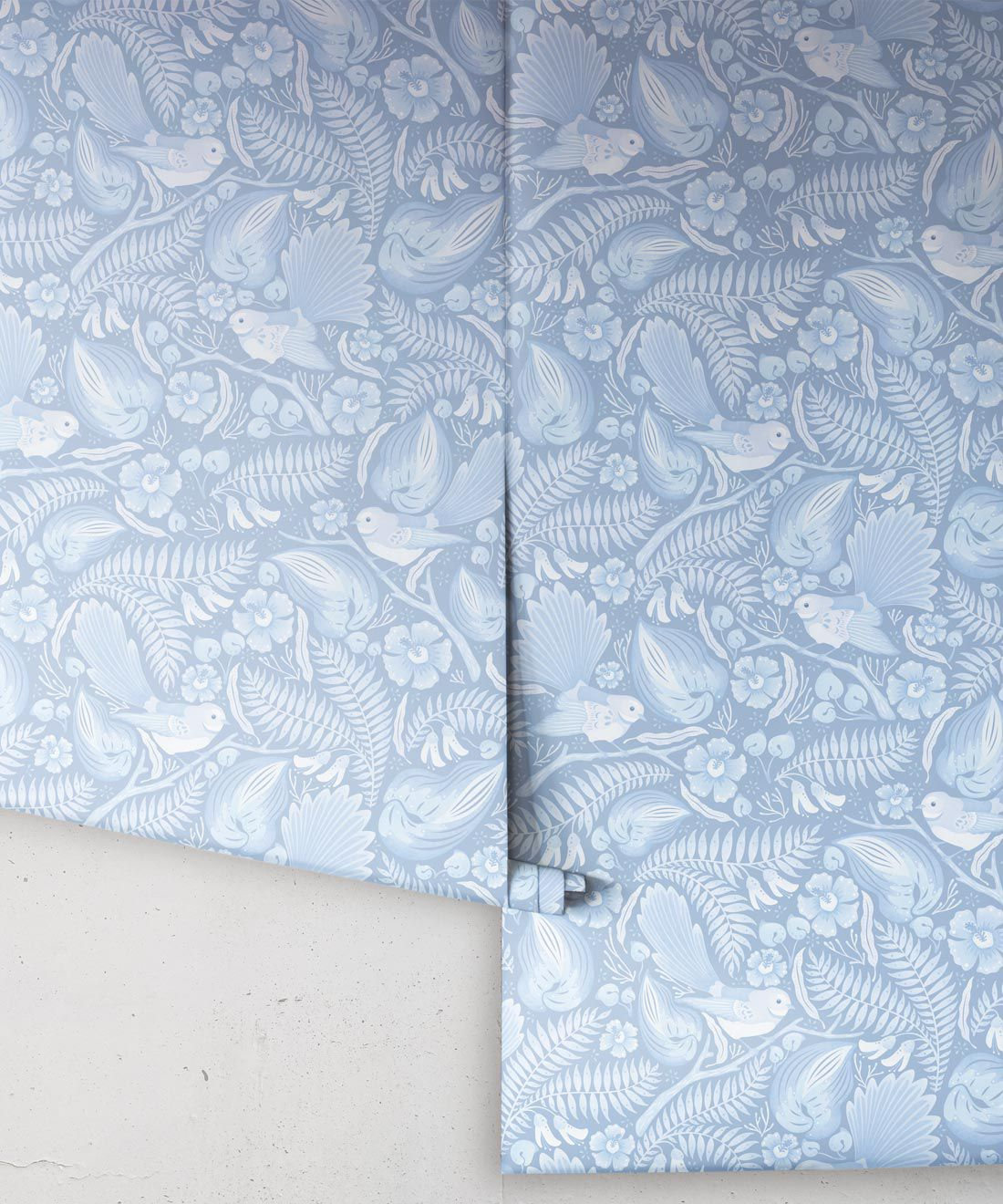 Faintails Wallpaper • New Zealand • Bird Wallpaper • Kowhai Tree • Kowhai Flowers • Light Blue Wallpaper • Ice Colorway • Wallpaper Drops