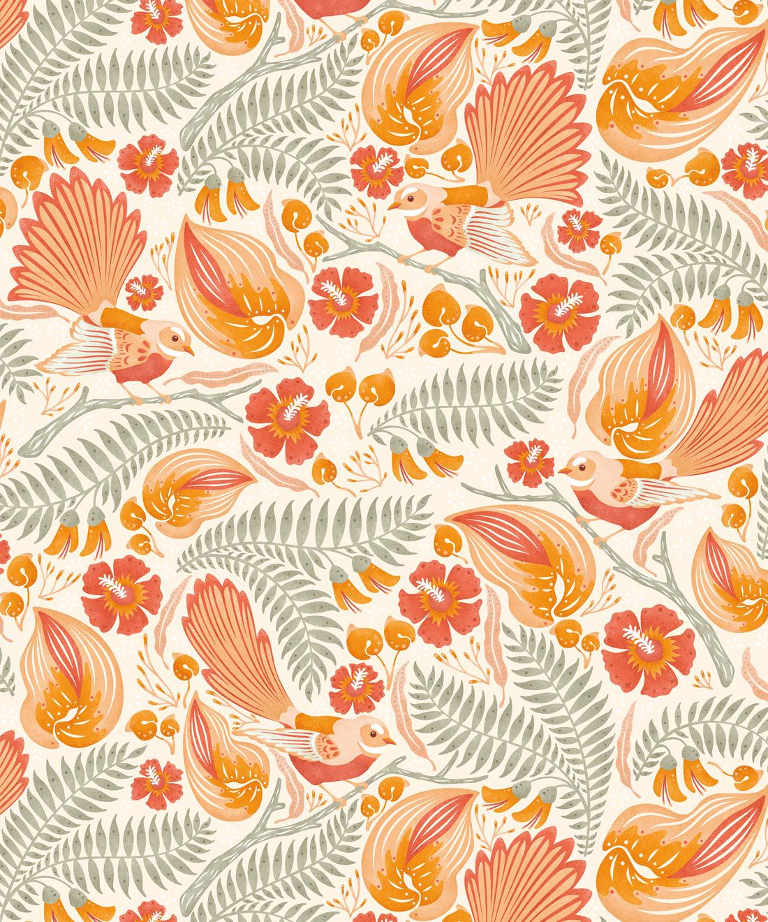 Faintails Wallpaper • New Zealand • Bird Wallpaper • Kowhai Tree • Kowhai Flowers • Orange Wallpaper • Light Colorway