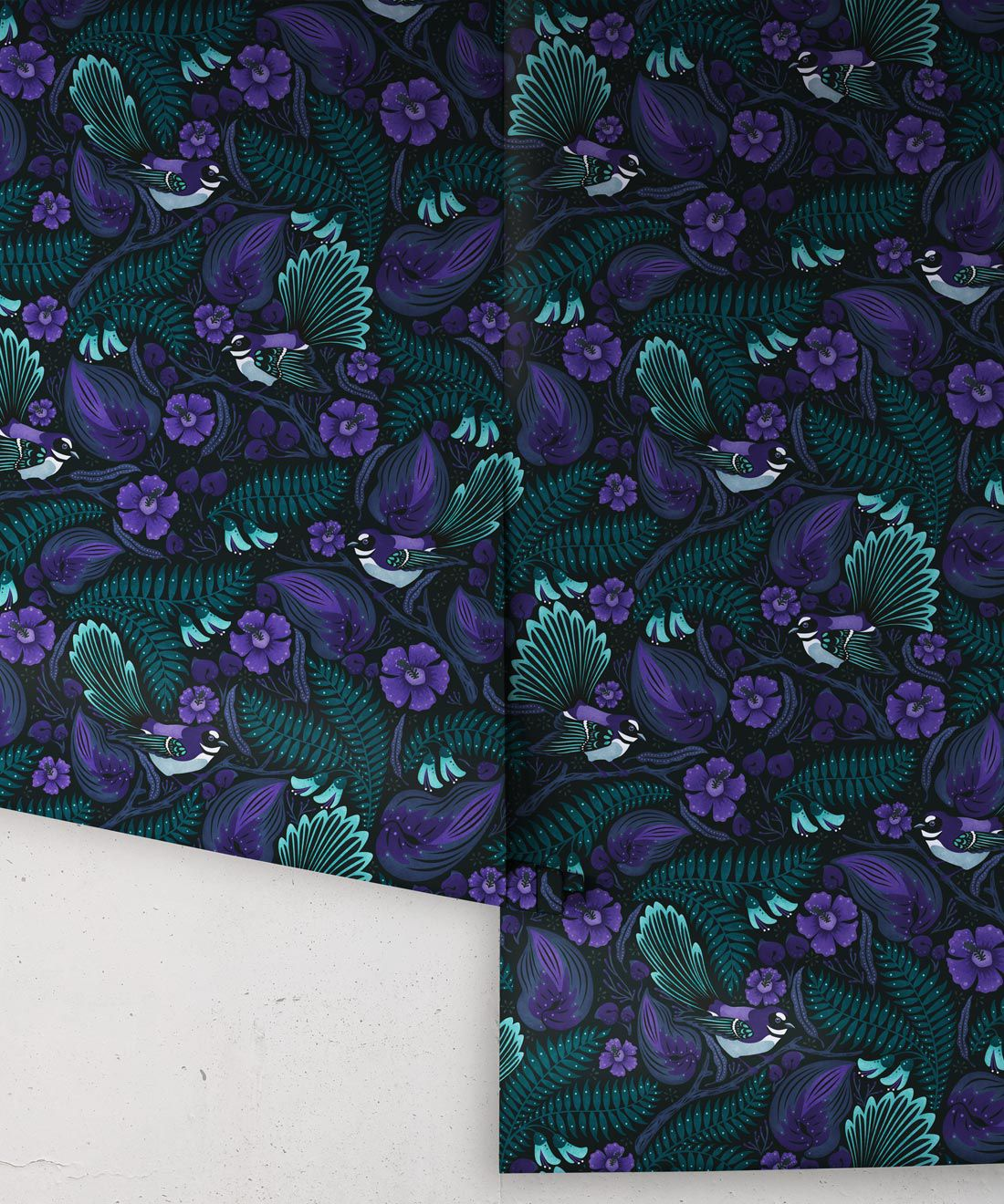 Faintails Wallpaper • New Zealand • Bird Wallpaper • Kowhai Tree • Kowhai Flowers • Dark Purple Blue Wallpaper • Midnight Colorway • Wallpaper Rolls