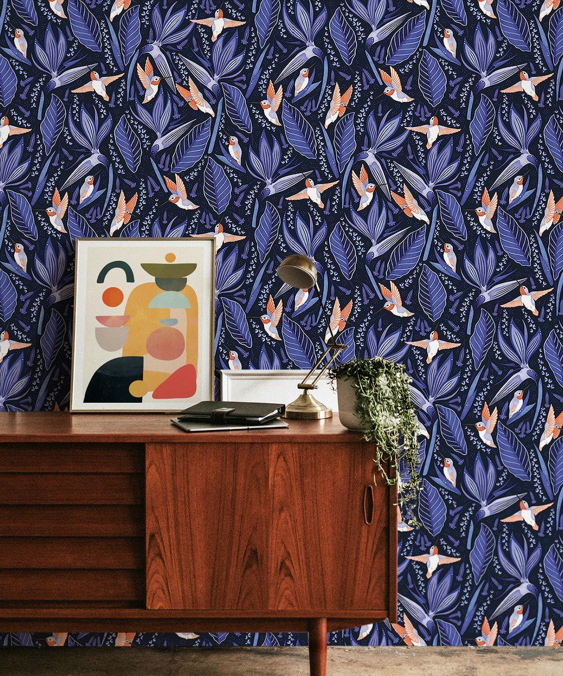 Hummingbird Wallpaper • Birds Of Paradise Flower • Bird Wallpaper • Blue Wallpaper Insitu