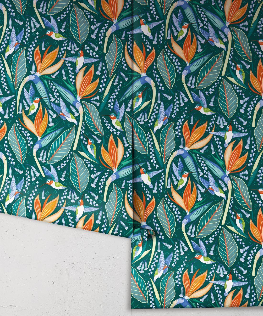 Hummingbird Wallpaper • Birds Of Paradise Flower • Bird Wallpaper • Green Wallpaper