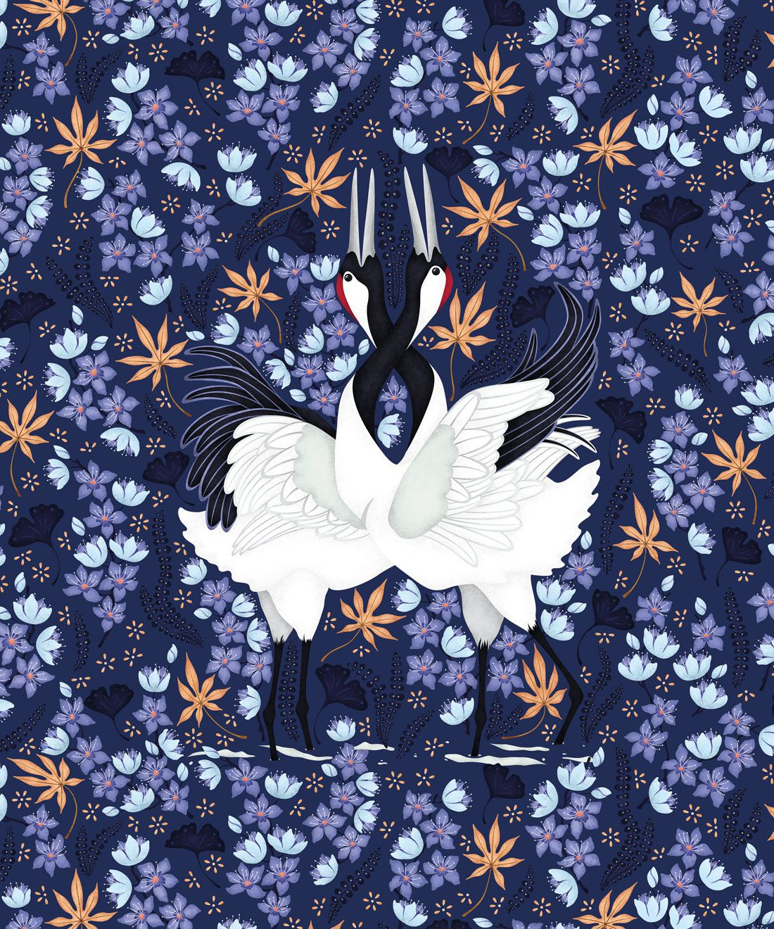 Japanese Cranes Wallpaper • Bird Wallpaper • Blue Wallpaper