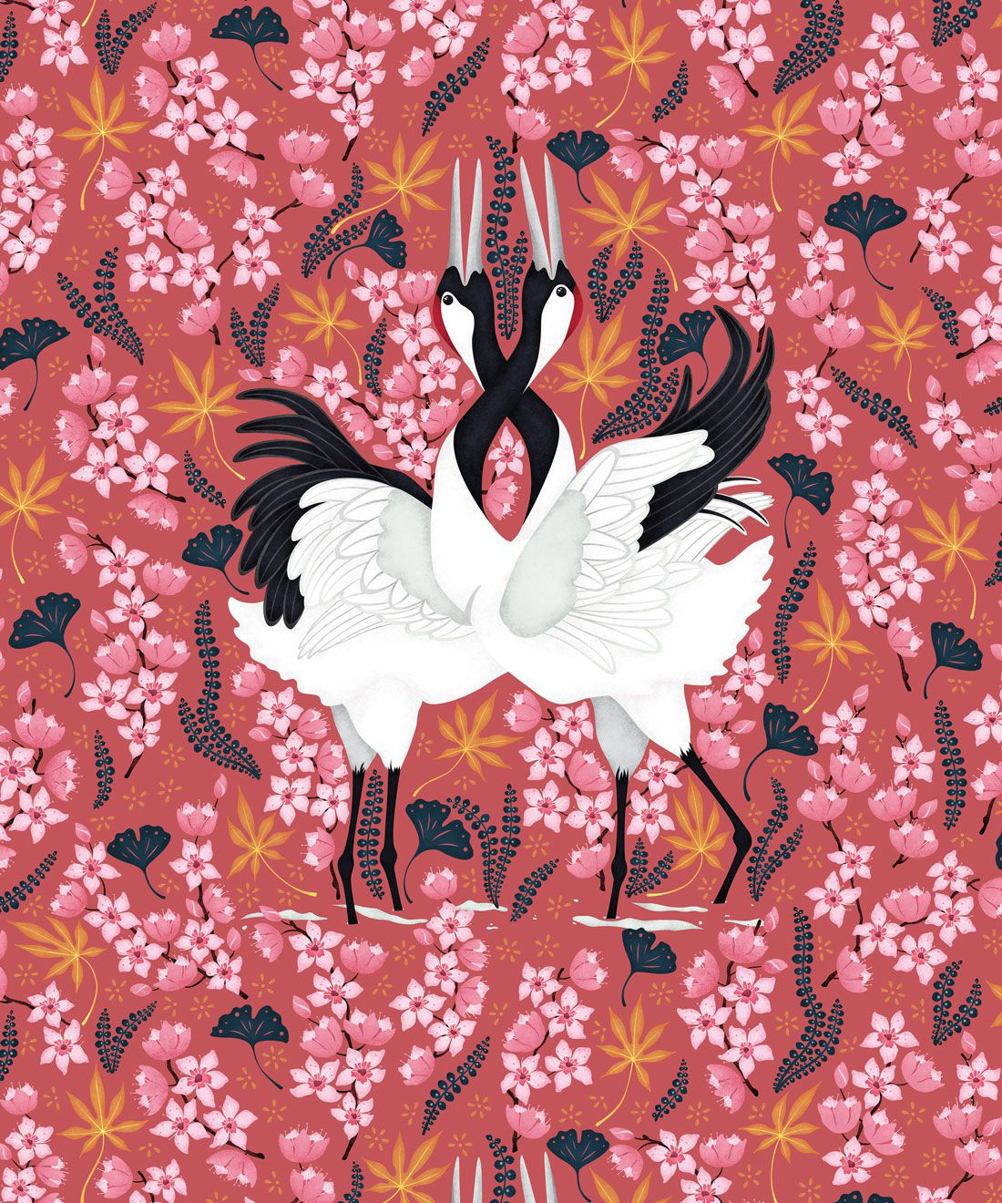 Japanese Cranes Wallpaper • Bird Wallpaper • Red Wallpaper