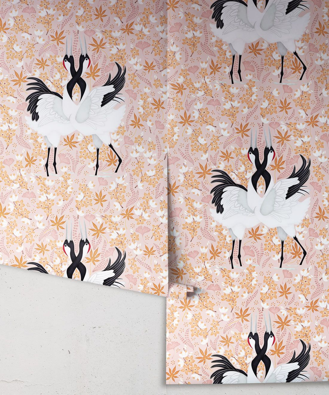 Japanese Cranes Wallpaper • Bird Wallpaper • Pink Wallpaper Drops