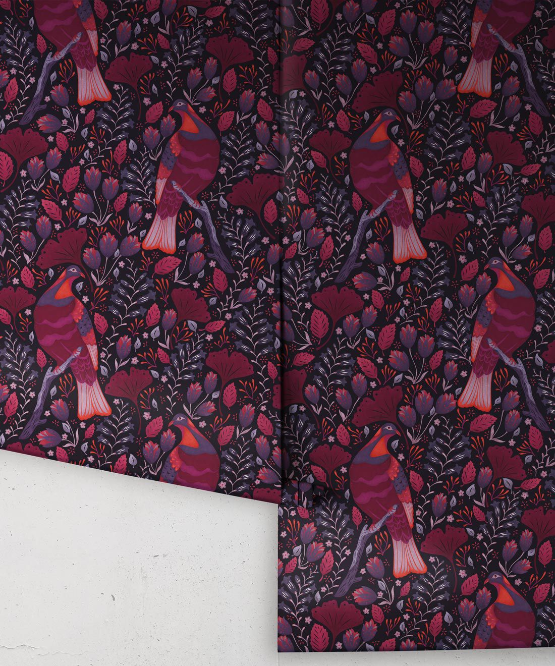 Kereru Wallpaper • Wood Pigeon• Bird Wallpaper • Maroon Wallpaper Drops