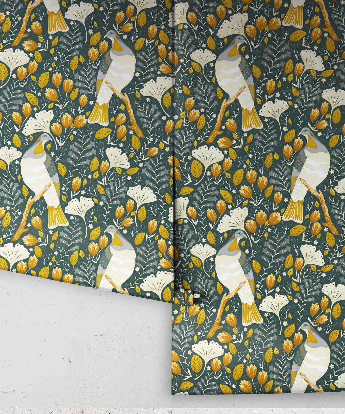 Kereru Wallpaper • Wood Pigeon• Bird Wallpaper • Mustard Green Wallpaper Rolls